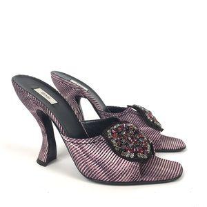 Prada embellished mule heeled slide sandal peep
